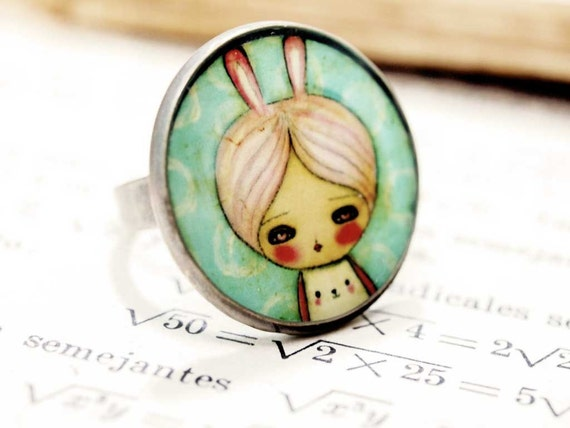 Bunny girl- Original Handmade Silver plated Adjustable Round Ring Jewelry by Danita