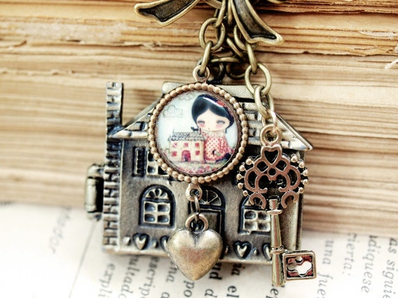 The Doll house  - House Home Brass Locket With Illustration and charms by Danita Art