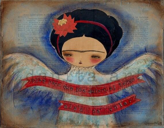 PIES PARA QUE LOS QUIERO - Original Frida Kahlo Collage Mixed Media Painting by DANITA (7 x 9 INCHES PRINT)