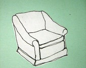 Mint Green Notepad with Sofa Chair Illustration