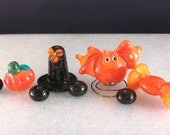 Bat and the Hat with a Side of Candy and Pumpkin - Handmade Lampwork Bead Set by Sun Daisy Glass