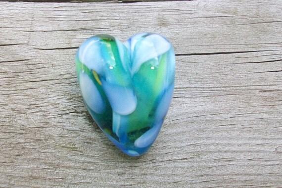 Love is a Flower - Heart Focal Bead by Sun Daisy Glass