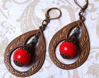 Tatiana Bohemian Teardrop Earrings in Red