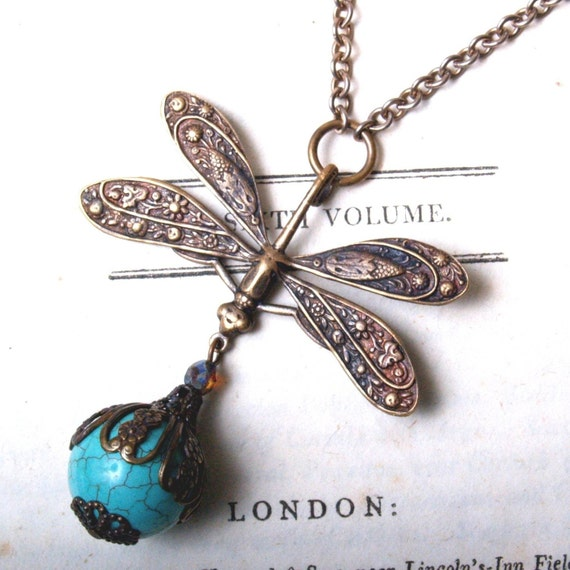 SUPER SALE Dragonfly Necklace in Turquoise