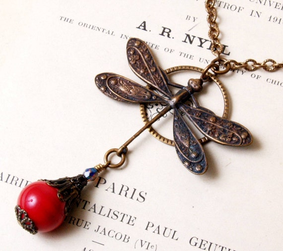 SUPER SALE Dragonfly Necklace in Red