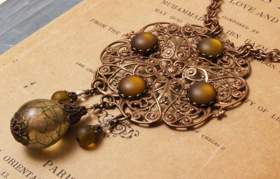 Art Nouveau Inspired Filigree Plaque Necklace in Olive