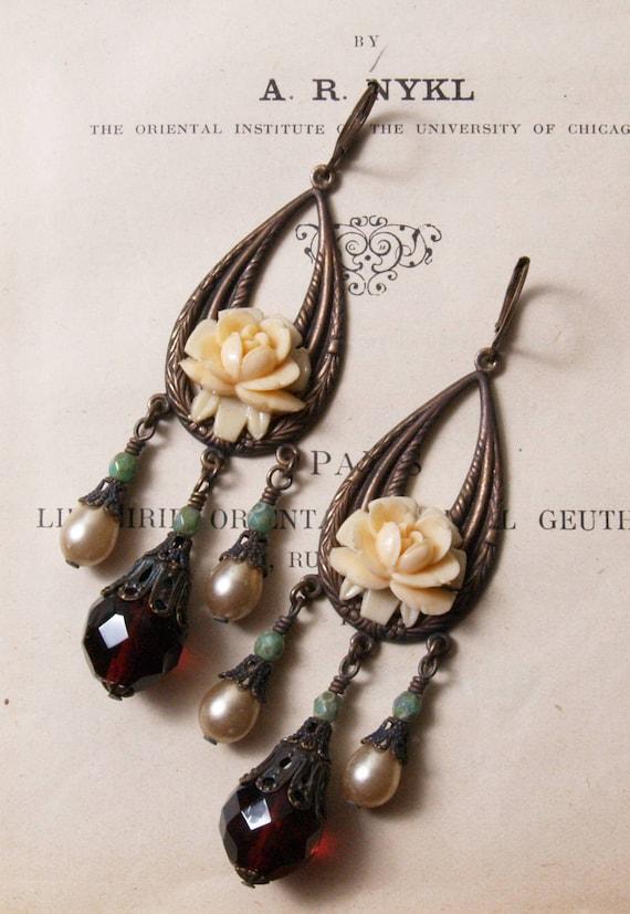 Vintage Rose Teardrop Earrings in Cranberry