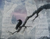 Crow - Raven  Shades of night,  Mixed Media Original  Acrylic Painting