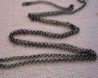 36 inch sterling silver antiqued rollo chain