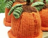 Baby Pumpkin Beanie Hat-Custom Made You choose Size- Newborn, 0-3m,3-6m,6-9m,12m...