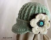 Willow Green Textured Baby Brimmed Beanie Hat- 0-3m