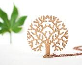 Autumn Tree Pendant a Wooden Rimu Necklace