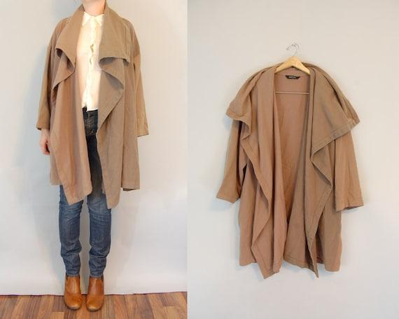 vintage 90s Avant Garde draped wool camel coat S/M