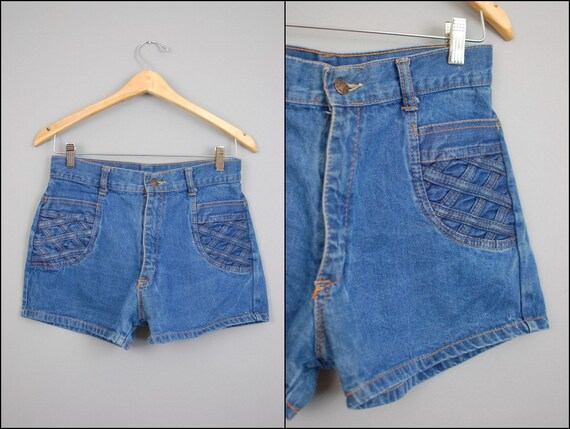 70s BRAIDED SHORTS / pocket Blue Denim wash High Waisted S/M