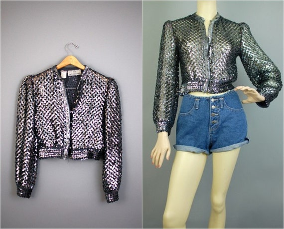 70s SEQUINS JACKET / Vintage silver knitted cropped cardigan s/m