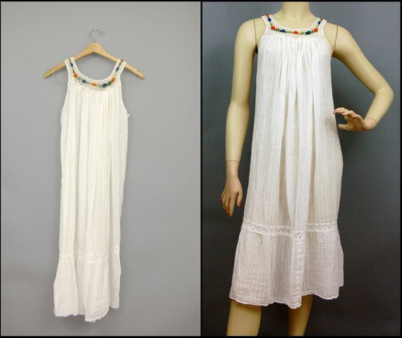 vtg Mexican summer embroidered flower collar ivory gauze cotton dress XS / S