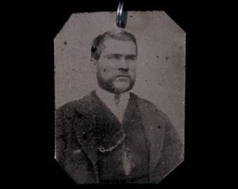 Tintype Pendant - Handsome Bearded Man