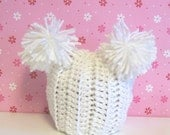 Shop Wide SALE EVERYTHING JUST 5.99--Hand Crocheted Double Pom Pom Hat-0-3 months