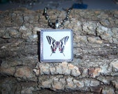 Zebra Butterfly Wood Tile Pendant