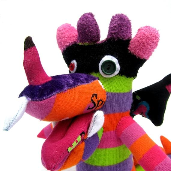 Dee Dee the Dragon - Fun Repurposed Plush Stuffed Animal Sock Art Toy - Fantasy Creature