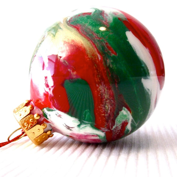 glass christmas ornament painted inside 2 ball green