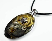 PIRATE OF STEAMPUNK Altered Art Watch Parts and Gears Resin Vintage Spoon Pendant with Necklace 3