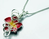 Made to Order - Design 12 - Aromatherapy Wire Wrapped  Polymer Clay Tropical Flower Bead PERFUME Pendant