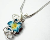 Made to Order - Design 15 - Aromatherapy Wire Wrapped  Polymer Clay Tropical Flower Bead PERFUME Pendant