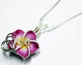 Made to Order - Design 17 - Aromatherapy Wire Wrapped  Polymer Clay Tropical Flower Bead PERFUME Pendant