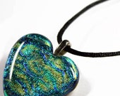 LARGE Rainbow Dichroic Art Glass Heart Pendant with Necklace 4