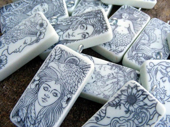 24 Assorted DIY Coloring Book Altered Art Mixed Media Domino Pendant
