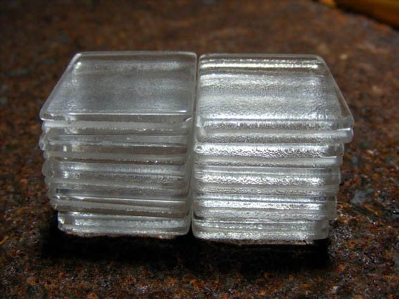 20 1 x 1 inch Clear Blank Grooved Channeled Handcut Square Glass Photo Image Tiles 4 Wire Wrap Pendant - Two Free Tutorials