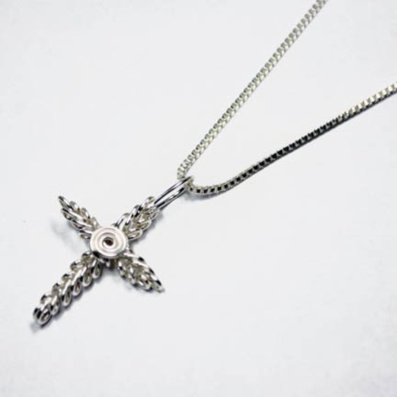 Argentium Sterling Silver Wire Wrap Cross of Christ Pendant with Necklace