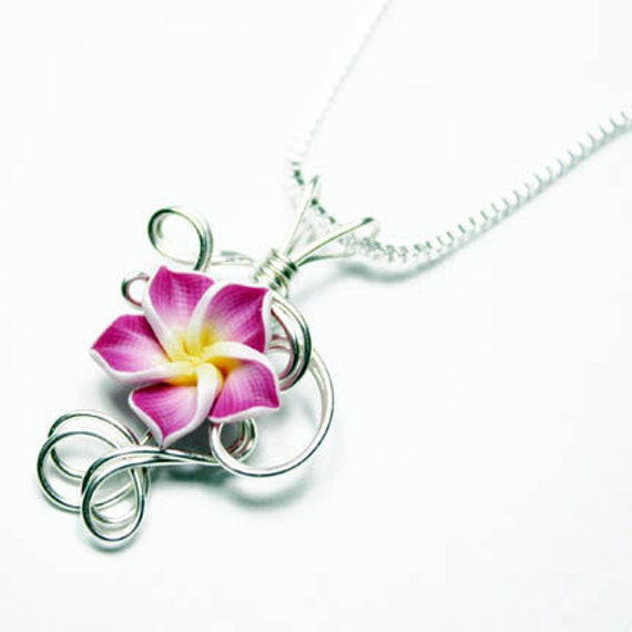Made to Order - Design 01 - Aromatherapy Wire Wrapped  Polymer Clay Tropical Flower Bead PERFUME Pendant
