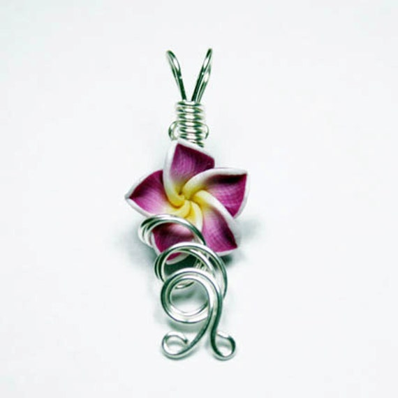 Made to Order - Design 02 - Aromatherapy Wire Wrapped  Polymer Clay Tropical Flower Bead PERFUME Pendant