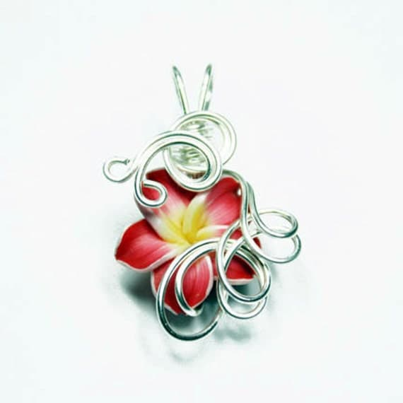 Made to Order - Design 03 - Aromatherapy Wire Wrapped  Polymer Clay Tropical Flower Bead PERFUME Pendant