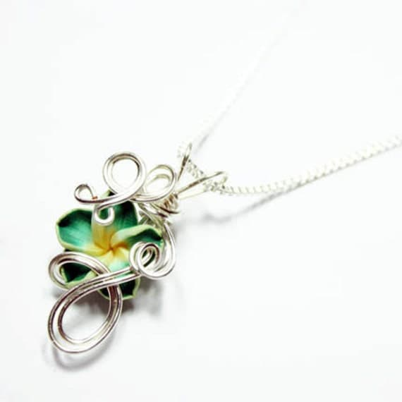 Made to Order - Design 19 - Aromatherapy Wire Wrapped  Polymer Clay Tropical Flower Bead PERFUME Pendant