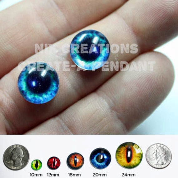 12mm Bright Blue Eyes Handmade Glass Taxidermy Doll Eyes Cabochons for Steampunk Jewelry and Pendant Making