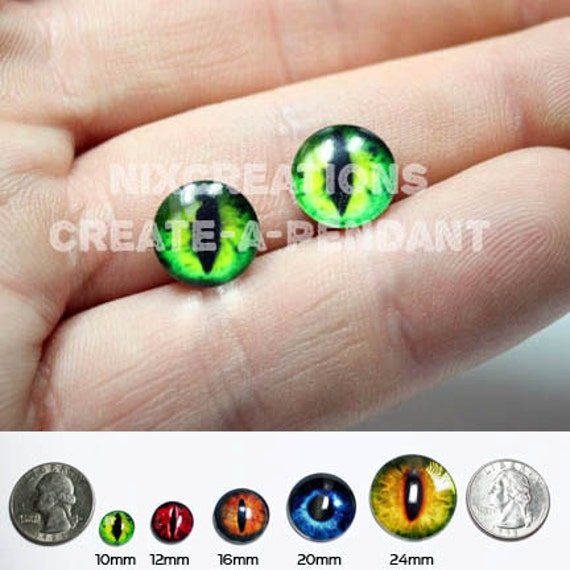 Taxidermy Eyes - 10mm - Handmade Set of Evil Green Dragon Glass Eyeball Doll Eyes Cabochons for Steampunk Jewelry Pendant and Ring Making