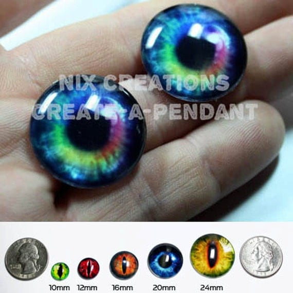 24mm 1 inch Light Rainbow Human Doll Taxidermy Eyes Handmade Glass Cabochons for Steampunk Jewelry and Pendant Making