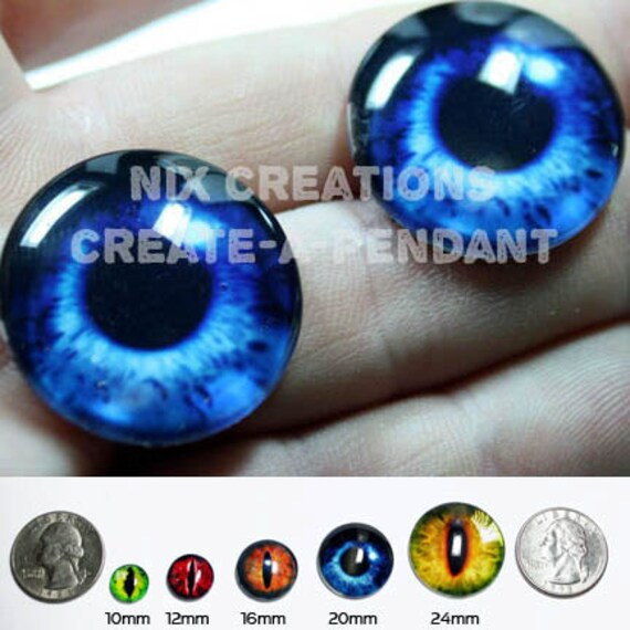 16mm Deep Blue Mermaid Human Doll Taxidermy Eyes Handmade Glass Cabochons for Steampunk Jewelry and Pendant Making