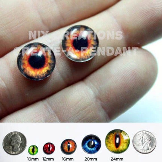 10mm Fire Eyes Handmade Glass Taxidermy Human Doll Eyes Cabochons for Steampunk Jewelry and Pendant Making