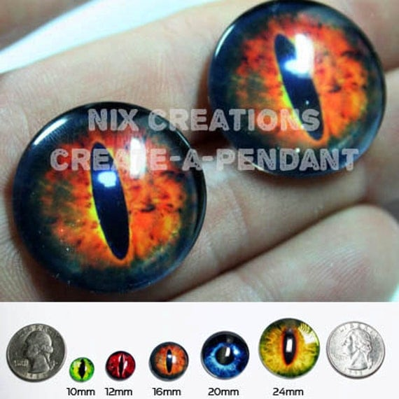16mm Glass Sauron's Eye from Lord of The Rings Glass Taxidermy Eyes Cabochons for Steampunk Jewelry and Pendant Making
