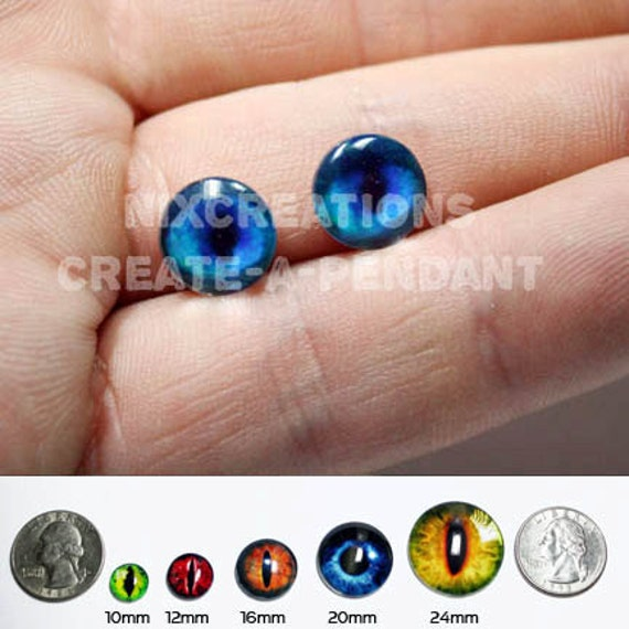 10mm Blue Glass Siamese Cat Eyes Handmade Glass Taxidermy Eyes Cabochons for Steampunk Jewelry and Pendant Making
