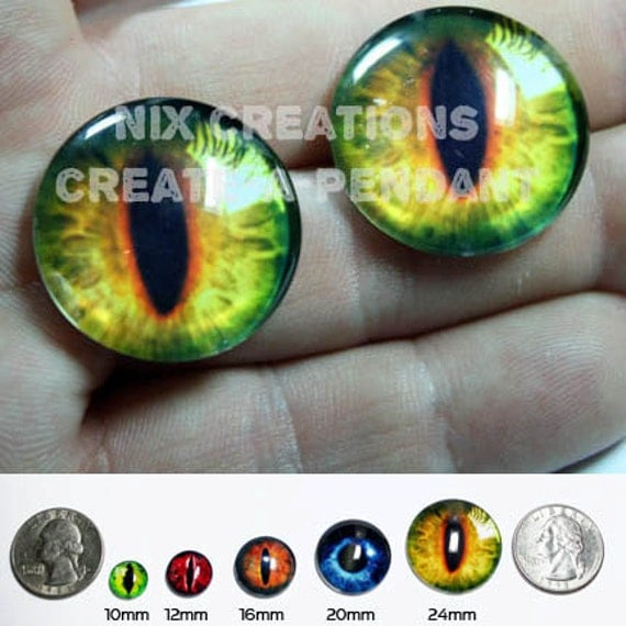 20mm Handmade Set of Glass Light Golden Dragon Glass Eyes Taxidermy Cabochons for Steampunk Jewelry and Pendant Making