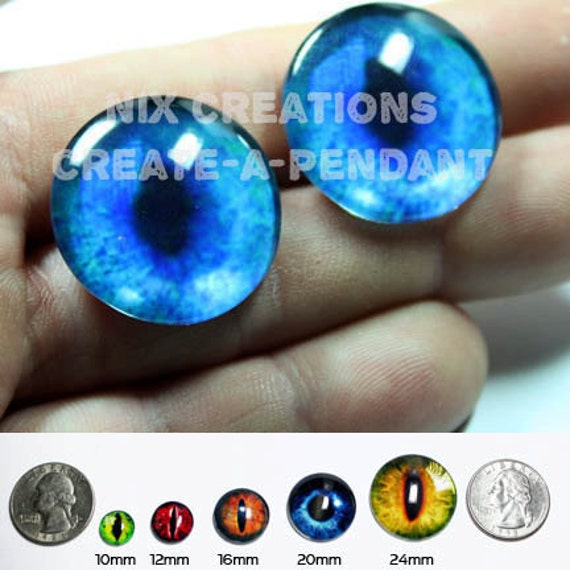 16mm Blue Glass Siamese Cat Eyes Handmade Glass Taxidermy Eyes Cabochons for Steampunk Jewelry and Pendant Making