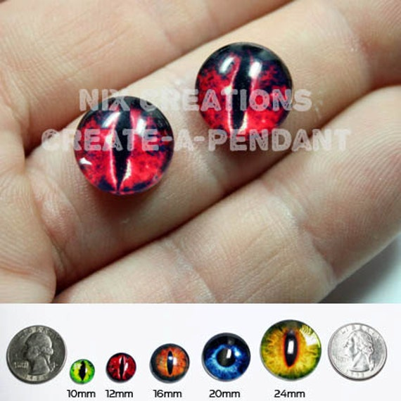 10mm Evil Red Dragon Handmade Glass Taxidermy Eyes Cabochons for Steampunk Jewelry and Pendant Making