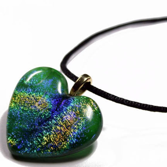 LARGE Rainbow Dichroic Art Glass Heart Pendant with Necklace