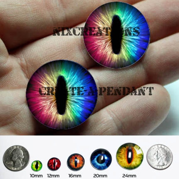 20mm Rainbow Spectrum Dragon Glass Taxidermy Doll Eyes Cabochons for Steampunk Jewelry and Pendant Making