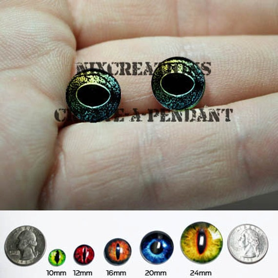 12mm Yellow Green Reptile Frog Eyes Handmade Glass Taxidermy Cabochon Pullip Doll Eyes Chips